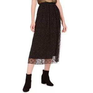 Bar III Black And Gold Sparkle Midi Skirt Large